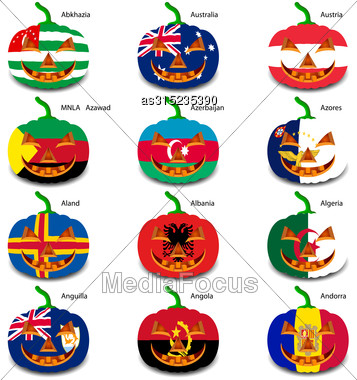 Set Pumpkins For Halloween As A Flags Of The World. Vector Illustration Stock Photo