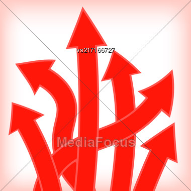 Set Of Red Arrows On White Background Stock Photo