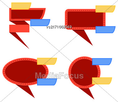 Set Of Red Banners Isolated On White Background Stock Photo