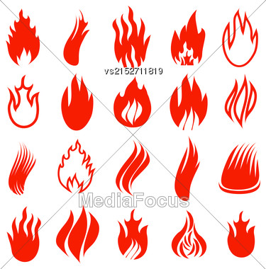 Set Of Red Fire Icons Isolated On White Background Stock Photo