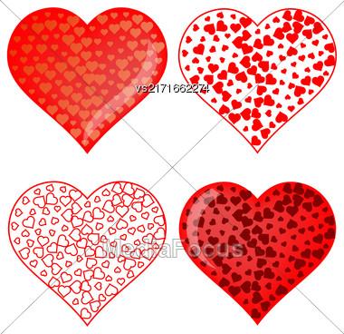 Set Of Red Heart Symbols Isolated On White Background Stock Photo
