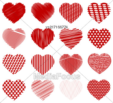 Set Of Red Hearts Isolated On White Background Stock Photo