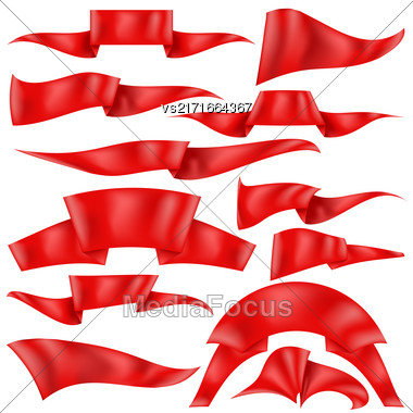 Set Of Red Ribbons Isolated On White Background. Flag Collection Stock Photo