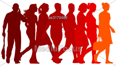 Set Red Silhouettes Of Beautiful Man And Woman On White Background. Vector Illustration Stock Photo
