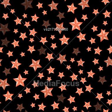 Set Of Red Stars On Dark Background. Seamless Starry Pattern Stock Photo
