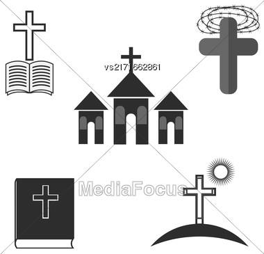 Set Of Religion Icons Isolated On White Background Stock Photo