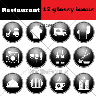 Set Of Restaurant Glossy Icons. EPS 10 Vector Illustration Stock Photo