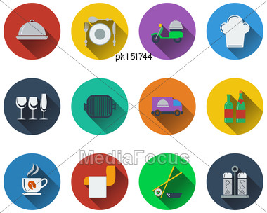 Set Of Restaurant Icons In Flat Design. EPS 10 Vector Illustration With Transparency Stock Photo