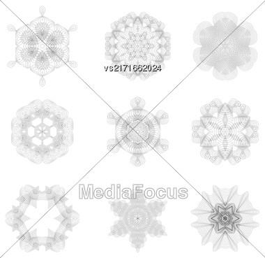 Set Of Rosettes Isolated On White Background Stock Photo