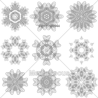 Set Of Rosettes Isolated On White Background Stock Photo