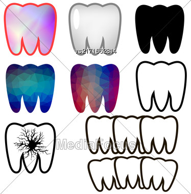 Set Of Rotten Teeth And Healthy Isolated On Blue Background. Dental Treatment. SevereToothache. Filled Tooth. Symbol Of Carre And Health Stock Photo