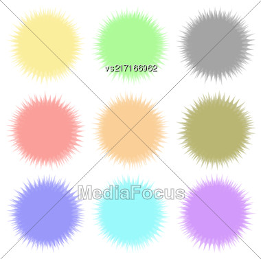 Set Of Round Colored Banners Isolated On White Background. Colorful Circles Flat Design. Transtarent Watercolor Shares Stock Photo