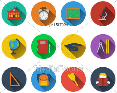 Set Of School Icons In Flat Design. EPS 10 Vector Illustration With Transparency Stock Photo