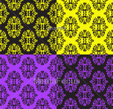 Set Of Seamless Patterns In Different Colors Stock Photo