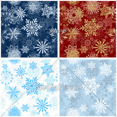 Set Of Seamless Snowflake Patterns In Different Color. Fully Editable EPS 8 Vector Illustration. Stock Photo