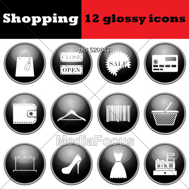 Set Of Shopping Glossy Icons. EPS 10 Vector Illustration Stock Photo