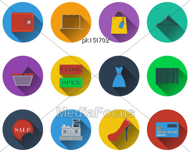 Set Of Shopping Icons In Flat Design. EPS 10 Vector Illustration With Transparency Stock Photo