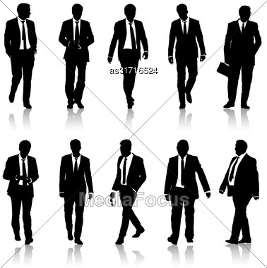 Set Silhouette Businessman Man In Suit With Tie On A White Background. Vector Illustration Stock Photo
