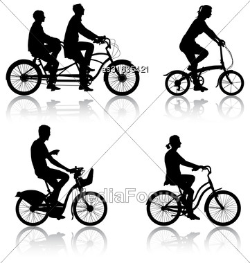 Set Silhouette Of A Cyclist Male And Female. Vector Illustration Stock Photo