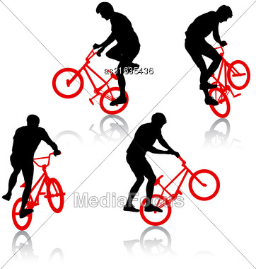 Set Silhouette Of A Cyclist Male Performing Acrobatic Pirouettes. Vector Illustration Stock Photo