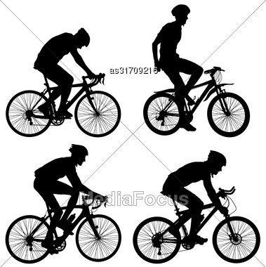 Set Silhouette Of A Cyclist Male. Vector Illustration Stock Photo