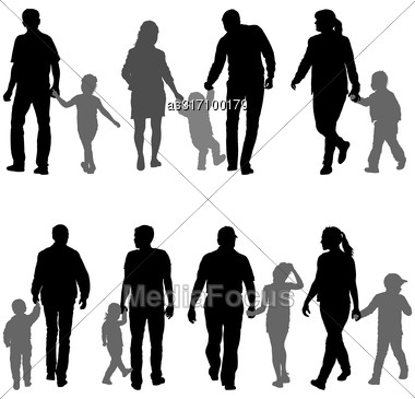 Set Silhouette Of Happy Family On A White Background Stock Photo