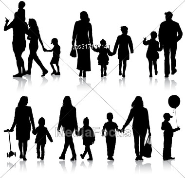 Set Silhouette Of Happy Family On A White Background. Vector Illustration Stock Photo