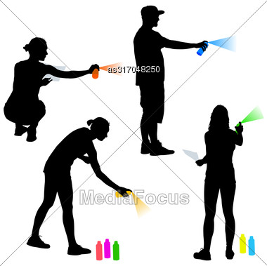 Set Silhouette Man And Woman Holding A Spray On A White Background. Vector Illustration Stock Photo