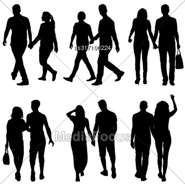 Set Silhouette Man And Woman Walking Hand In Hand Stock Photo