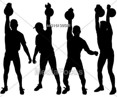 Set Silhouette Muscular Man Holding Kettle Bell. Vector Illustration Stock Photo