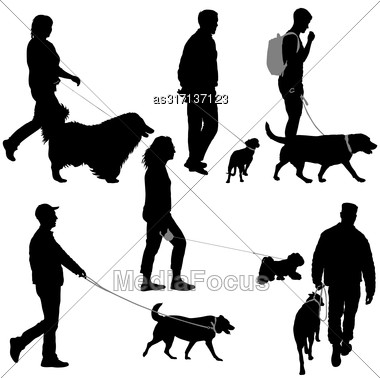 Set Silhouette Of People And Dog On A White Background Stock Photo