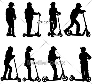 Set Of Silhouettes Of Children Riding On Scooters. Vector Illustration Stock Photo