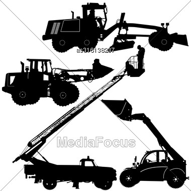 Set Of Silhouettes Of Construction Machinery. Vector Illustration Stock Photo