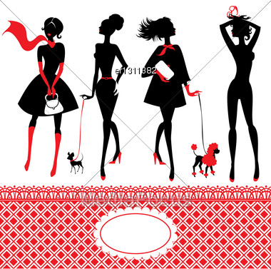 Set Of Silhouettes Of Fashionable Girls Stock Photo