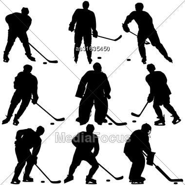 Set Of Silhouettes Hockey Player. Isolated On White. Vector Illustrations Stock Photo