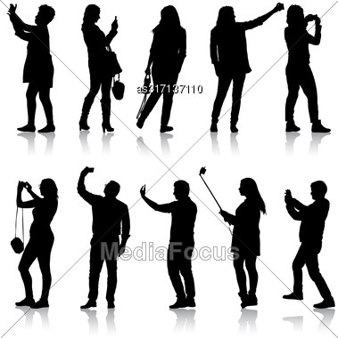 Set Silhouettes Man And Woman Taking Selfie With Smartphone On White Background Stock Photo