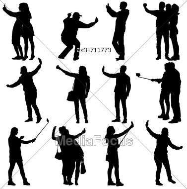 Set Silhouettes Man And Woman Taking Selfie With Smartphone On White Background. Vector Illustration Stock Photo
