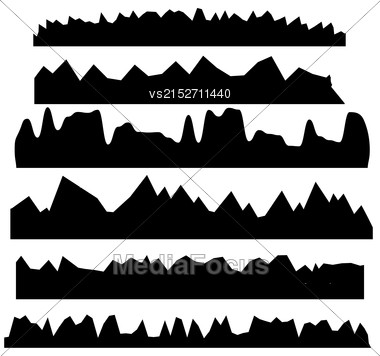 Set Of Silhouettes Of Mountains Isolated On White Background Stock Photo