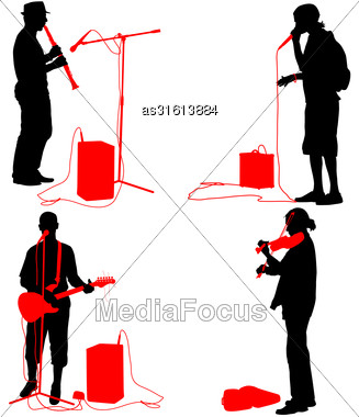 Set Silhouettes Musicians Playing Musical Instruments. Vector Illustration Stock Photo