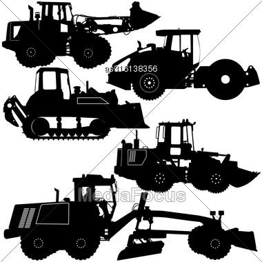 Set Silhouettes Road Construction Equipment. Vector Illustration Stock Photo