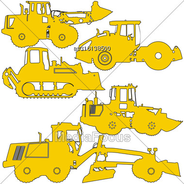 Set Silhouettes Road Construction Equipment. Vector Illustration Stock Photo