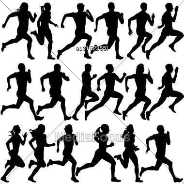 Set Of Silhouettes. Runners On Sprint, Men. Vector Illustration Stock Photo