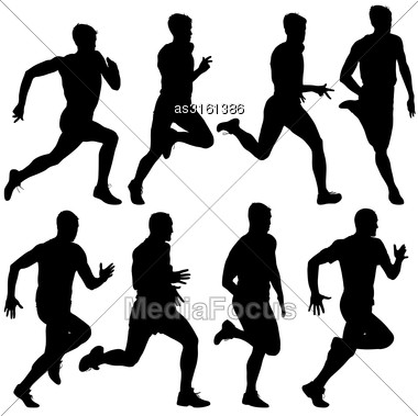 Set Of Silhouettes Runners On Sprint, Men. Vector Illustration Stock Photo