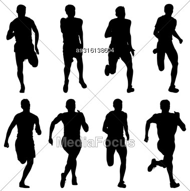 Set Of Silhouettes Runners On Sprint, Men. Vector Illustration Stock Photo