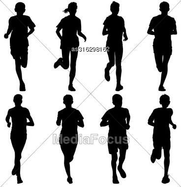 Set Of Silhouettes. Runners On Sprint, Men. Vector Illustration Stock Photo
