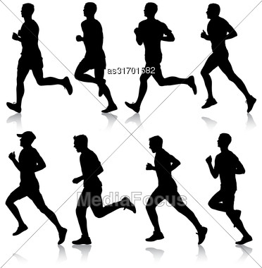 Set Of Silhouettes. Runners On Sprint Men. Vector Illustration Stock Photo