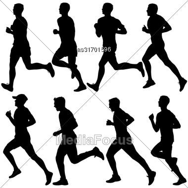 Set Of Silhouettes. Runners On Sprint Men. Vector Illustration Stock Photo