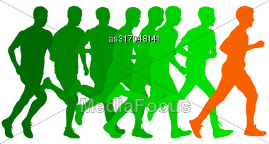 Set Of Silhouettes Runners On Sprint Men Vector Illustration Stock Photo