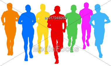 Set Of Silhouettes Runners On Sprint Men Vector Illustration Stock Photo
