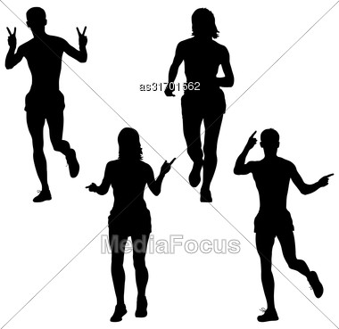 Set Of Silhouettes. Runners On Sprint Men And Woman. Vector Illustration Stock Photo